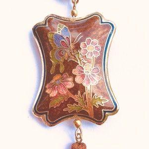 Vintage 80's Cloisonné Pendant with tassel ( bronze)